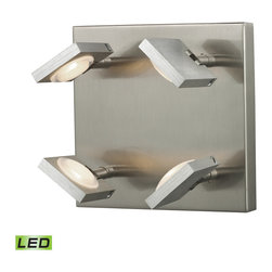 Elk Lighting - Elk Lighting Reilly Collection 4 Light Sconce In Brushed Nickel/Brushed Aluminum - 4 Light Sconce In Brushed Nickel/Brushed Aluminum - 54013/4 in the Reilly collection by Elk Lighting The Reilly collection features adjustable LED technology that offers crisp illumination and versatility among sleek modern lines.  The light holder is made of solid brushed aluminum while the framework is done in a complimentary Brushed Nickel finish.     Wall Sconce (1)