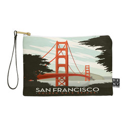 DENY Designs - DENY Designs Anderson Design Group San Francisco Pouch - You name it, DENY's Pouches hold it! Available in two sizes and styles, you can use our water repellent pouches for cosmetics, perfume, jewelry, pencils and even an Ipad mini! And did we mention that the small size doubles as a wristlet? With a coordinating color strap and interior lining, you can throw it into a larger bag or use it on the go as a clutch to hold your phone, credit cards and various other essentials. It's a party in a bag!
