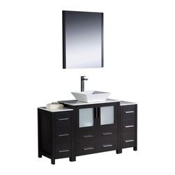 """Fresca - 54"""" Espresso Vanity w/ 2 Side Cabinets & Vessel Si Soana Brushed Nickel Faucet - Fresca is pleased to usher in a new age of customization with the introduction of its Torino line.  The frosted glass panels of the doors balance out the sleek and modern lines of Torino, making it fit perfectly in eithertown or country decor."""