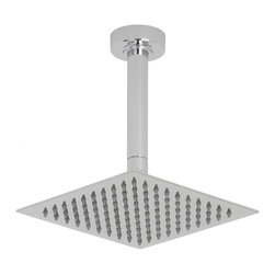 """Hudson Reed - Bathroom 8"""" Square Shower Head Chrome Rainfall Overhead & 6"""" Round Ceiling Arm - Delivering a sensational showering experience, this 8"""" square shower head from Hudson Reed is perfect for adding a touch of designer style to any bathroom. Featuring a chrome finish and easy to clean nozzles, this shower head comes with the round ceiling arm."""