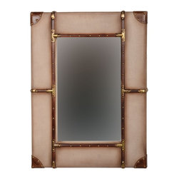 """Linon Home Decor - Linon Home Decor Vintage Framed Wall Mirror - Small X-123X421RIMMMA - Full of rustic charm and character, the Vintage Framed Wall Mirror is perfect for accenting any area of your home. The wide bordered mirror is wrapped with beige and brown fabric, leather and nailhead details. Hangs vertically or horizontally. Measures 24""""x2""""x32"""" We suggest you consult a professional before hanging as this item is heavy."""