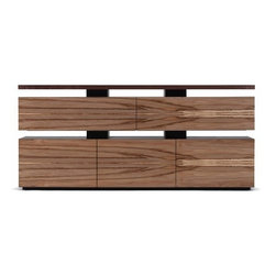 Skram - Skram | Wishbone Credenza - The Wishbone Collection boasts a variety of beautiful wood grain cabinets that are highlighted by the contrast of their ebonized supports. Wishbone Credenza displays a 3 tier construction that isolates its slab top and two sets of cabinet components for a deconstructed yet contemporary stylized aesthetic. The Credenza has adjustable leveler feet for additional support.