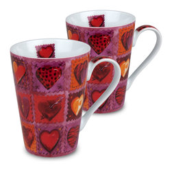 Konitz - Set of 2 Mugs Hearts on Patches - This mug will remind you of your favorite worn-in quilt. The Hearts on Patches Mug boasts a charming design of patchwork hearts in an amazing array of colors. Decorated by hand, this mug is the perfect gift for those in love.