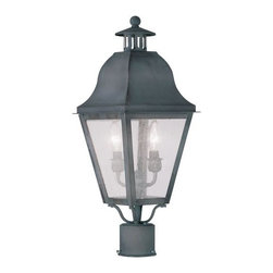 Livex Lighting - Livex Lighting 2552 Amwell Post Light - Livex Lighting 2552 Amwell Two Light Outdoor Post LightAccented with a large vented chimney, cone shaped lid, and ball finial, the Amwell two light outdoor wall sconce features a classic colonial lantern look with its four cornered bell shaped roof and tapered seeded glass windows. This regal light will enhance the look of any home with its timeless style.Livex Lighting 2552 Features: