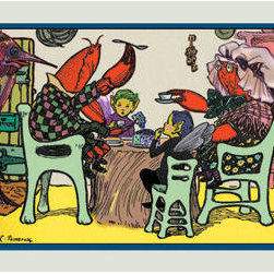 Buyenlarge - Having Cake Mr. Caterpillar Crab and Dame Crabby 12x18 Giclee on canvas - Series: Rosa Petherick