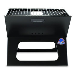 "Picnic Time - Boise State X-Grill Folding Portable Charcoal BBQ Grill - The X-Grill is the folding portable charcoal BBQ grill with a slim line design. Compact and easy to assemble, the X-Grill provides a grilling surface of 203.5 sq. in. The X-Grill includes 1 electro-plated iron barbecue grill, 1 chrome-plated tri-fold cooking grate (18.5"" x 11"") and 1 charcoal grate (all stored conveniently inside the folded grill), and 1 durable 600D polyester carrying tote. So why be confined to your backyard? With the X-Grill, you can take the BBQ wherever you want to go!; College Name: Boise State; Mascot: Broncos; Decoration: Digital Print; Includes: 1 electro-plated iron barbecue grill, 1 chrome-plated tri-fold cooking grate (18.5"" x 11"") and 1 charcoal grate (all stored conveniently inside the folded grill), and 1 durable 600D polyester carrying tote."