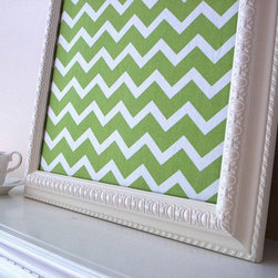 Chevron Fabric Cork Bulletin Board Shabby Chic Farmhouse - Large, framed fabric cork bulletin board with a green chevron print is a perfect addition to your home decor. A Country Cottage, Shabby Chic Farmhouse cream frame! Use this large, decorative organizer bulletin board as a central family message center, in your child's room, kitchen, or home office - works well anywhere! The hand painted cream frame is decorative and is a wonderful addition to your rustic, country cottage or shabby chic decor. Perfect accompaniment to chalkboards, magnet boards and push pin boards.