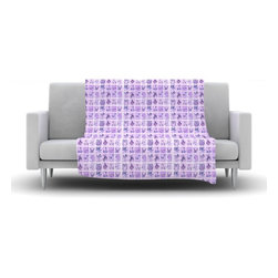 """Kess InHouse - Marianna Tankelevich """"Cute Birds Purple"""" Pink Lavender Fleece Blanket (90"""" x 90"""" - Now you can be warm AND cool, which isn't possible with a snuggie. This completely custom and one-of-a-kind Kess InHouse Fleece Throw Blanket is the perfect accent to your couch! This fleece will add so much flare draped on your sofa or draped on you. Also this fleece actually loves being washed, as it's machine washable with no image fading."""