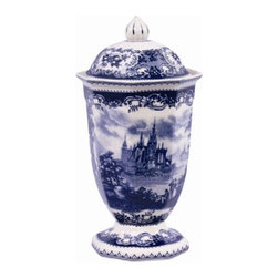 "12"" Porcelain Transferware Jar - Try grouping a selection of these reproduction blue transferware jars together atop a china hutch or on a buffet."