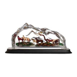 Franz Porcelain - FRANZ PORCELAIN COLLECTION Eight Fine Horses Lucite Sculpture FL00107 - Finished In Lead Free Glazes * Hand Painted By Franz Porcelain Artisans * FDA Approved Food/Plant Safe * New In The Original Box