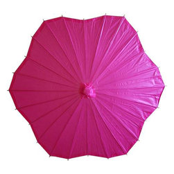Oriental-Décor - Scalloped Fuscia Parasol - Light up any occasion with this gorgeous Scalloped Fuscia Parasol!  Colorful paper umbrellas are a common fashion accessory for the modern Chinese woman, and now you can import a fun and flirty Oriental tradition into your own style repertoire.  Solidly constructed of oiled paper and wood, our umbrellas feature an intricate spoke design and great texture.  They are the perfect addition to your summer outfit, and come in many shapes and colors.  Shade yourself on the beach, or playfully twirl your parasol while taking a romantic afternoon stroll.  No matter the event, you will be adding a touch of class when you pair the Scalloped Fuscia Parasol with one of your favorite summer outfits.  In fact, our paper parasols may quickly become a staple in your special occasion wardrobe.  We have a huge selection of these affordable accessories that will meet all your fashion needs.  Why not start a trend?  Our paper umbrellas make perfect gifts.  Create a great memory on your next day out with the girls and take a photo