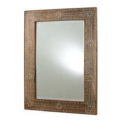 Kara Mirror - Handcrafted floral inlay in the delicate ivory and taupe tints of natural bone punctuate the Kara Mirror's wooden frame with a classic design. Using the motifs familiar from classic details like crystal and embroidery, but giving your decor more distinction with its rich and quiet natural wood and bone hues, this neutral rectangular wall mirror is a sophisticated option.