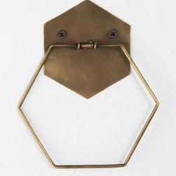 Hexagon Towel Ring - I think this hexagonal towel rack is so hip.