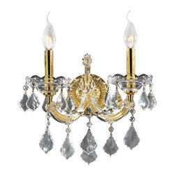 Worldwide Lighting - Worldwide Lighting W23070G12 Maria Theresa 2-Light Gold Finish Wall Sconce - Worldwide Lighting W23070G12 Maria Theresa 2-Light Gold Finish with Clear Crystal Wall Sconce