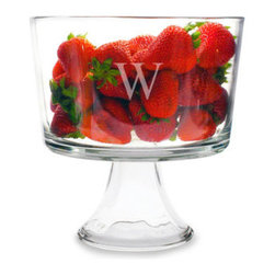 Grandin Road - Personalized Trifle Dessert Bowl - Generously sized trifle bowl, with a weighted bottom, monogrammed to your taste. Expertly crafted from clear glass. Engraving with a single, uppercase block initial, as shown. Conveniently dishwasher safe. 3 quart capacity. Serve up your most decadent kitchen creations, display fresh fruit, or other items in classic style using our Personalized Trifle Dessert Bowl. Its many uses go far beyond that of its namesake. Custom engraving with your single initial makes it a signature centerpiece on a buffet, sideboard, or kitchen island. What's more, any hostess would be delighted to receive one as a cherished gift. Bon appetit!. . . .  . Personalized items are not returnable.