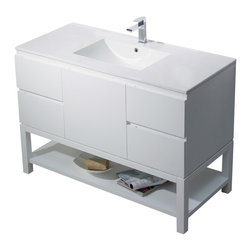 Inolav - Vanity Emmet 49 with  Integrated White Porcelain, Matte White - The Emmet collection is a celebration of modern and elegant design. The open shelf will transform an ordinary bathroom into your own personal everyday spa. It features a hidden drawer to keep those small toiletries handy. Add chic style to your home with the sleek look of the Emmet collection.