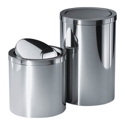 Modo Bath - Harmony 212 Waste Basket with Revolving Cover in Polished Stainless Steel - Harmony 212 Waste Basket with Revolving Cover in Polished Stainless Steel