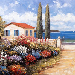Murals Your Way - Coastal Garden Walk Wall Art - A small house on the shore has a huge flower garden out back, surrounded by a stone wall