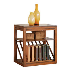 Steve Silver Furniture - Steve Silver Jameson Oak Chairside End Table - The Jameson chairside End table is the perfect addition for a small area with a need for functional and beautiful storage. Use this table to display books, boxes, or decorative additions. Pull-out platforms add marginal space if more room becomes necessary. Choose either the cherry or oak finish!