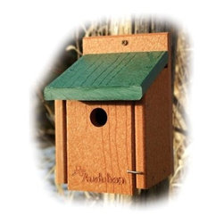 Going Green Recycled Plastic Wren Bird House - If the wren is your favorite bird the Going Green Recycled Plastic Wren Bird House is the perfect way to lure them to your backyard. This birdhouse is specifically designed for wrens with its 1.125-inch hole. It's wren-friendly and eco-friendly as it's constructed from up to 90% recycled plastics. Each feeder is proudly made in the USA. Weight capacity: 2.75 lbs. Dimensions: 6.75L x 6Wx 8H inches.About WoodlinkAt Woodlink a lot of pride goes into making innovative products that are friendly to the environment. The goal is to be as efficient as possible to serve the customer well. Every month Woodlink saves more than 37 trees 8 780 gallons of fresh water nearly 5.5 cubic feet of landfill space and 6 585 KWH of electricity. Woodlink is the exclusive licensee for the manufacturing of birding products to the design specifications of the National Audubon Society.
