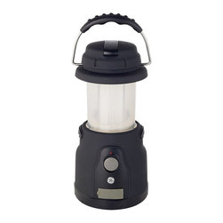 """Lamps Plus - GE Dynabeam LED Lantern - Great for everyday as well as emergency use this lantern can be powered in three different ways. Run it from regular AC power with the included adapter. You can also plug it into an auto DC outlet. Finally a built-in hand crank allows you to wind and charge a built-in battery pack. It comes with a built-in siren that acts as a valuable locator in an emergency. The lantern collapses into a compact unit making it easily portable for fishing hunting or camping trips. It features a non-slip easy-to-grip rubberized finish. Non-slip coating. Built in siren. Collapsible. Two brightness settings. Includes an AC DC and wind-up recharger. 5 1/4"""" wide. 5 1/4"""" deep. 9"""" high.  Non-slip coating.    3 ways to power.  Includes an AC DC and wind-up recharger.  Built in siren.   Collapsible.   Two brightness settings.   Perfect for BBQs cookouts and more.   GE Dynabeam lantern.  9"""" high.   5 1/4"""" wide.   5 1/4"""" deep."""