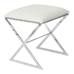 Worlds Away - Worlds Away - X Side Stool With Upholstered - X Side, Cream With Nickel - Worlds Away - X Side Stool with Upholstered - X SIDE