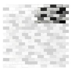 "Mosaic Decor - 3D Metal Aluminum Black White Gray Mosaic Kitchen Backsplash Tile, 4"" X 6"" Sampl - 3D Metal Aluminum Black White Gray Mosaic Kitchen Backsplash Tile"