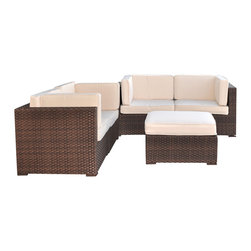 International Home Miami - Atlantic Nice Conversation 5-Piece Patio Set in Off-White - Great quality, stylish design patio sets, made entirely of high quality resin. No metal parts. I won't rust. Polyester cushion with water repellant treatment. Enjoy your patio with elegance all year round with the wonderful Atlantic outdoor collection.