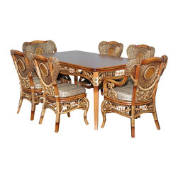 Royola Pacific - 7 Pc Rattan Elizabethan Table w/ 6 Chairs Dining Set - Solid hardwood construction w/ rattan