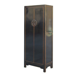 Golden Lotus - Black Lacquer Chinese Moon Face Armoire Storage Cabine - This is a Chinese black armoire which is made of solid elm wood.  Especially, the door of cabinet has Chinese Ming style moon face hardware design.  It is perfect to use as armoire and storage cabinet.