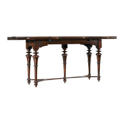 Hooker Furniture - Flip Top Console Table - A beautiful table anchors a room. And if you have a room that needs anchoring, this mahogany flip-top side table will do the job nicely. Traditional in style, it has spindle cut legs, a criss-cross base and can expand or contract according to your needs.