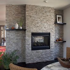 Contemporary Indoor Fireplaces by aZura Stoneworks