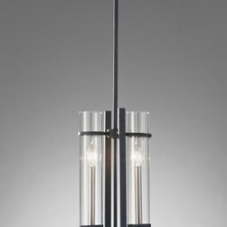 Murray Feiss - Ethan 2 Light Mini Pendant With Clear Glass Shades - The Ethan lighting collection is a contemporary take on the strong verticals and horizontals of the elegantly simple, Asian influences of the Mission style.  The dark Antique Forged Iron finish contrasts dramatically with the Brushed Steel candle tubes and sleek Clear glass surrounds, which ingenuously can all be removed and run through the dishwasher to keep them sparkling clear.
