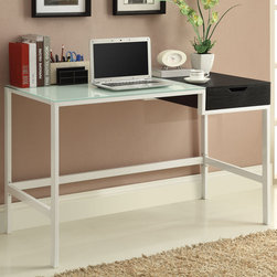 "Coaster - Desk, White/Black - This contemporary computer desk has a sleek two tone look with a white frosted glass table top and a black storage drawer on the side. A large work surface sits on top of white powder coated metal legs. Pair this modern desk with a simple bookcase, available in white (#800138) and black (#800137).; Contemporary Style; Finish/Color: White/black; Dimensions: 47""L x 23.50""W x 30""H"
