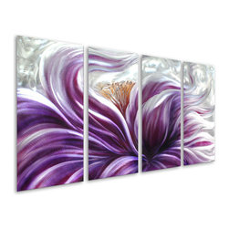 Pure Art - Fluidity of Passion Flower Handcrafted Four-Panel Aluminum Wall Art - Color this intense is destined to bring a strong visual focal point to your modern wall! The Fluidity of Passion Flower Handcrafted Four Panel Aluminum Wall Art features four hand painted panels that come together to depict a brilliant and passionate purple flower, with detailed stamens and leaves, set upon a silvery sea of silver.  You will appreciate the fine details that make this up-close-and-personal view of the flower so utterly startling and moving. Hang this metal wall art anywhere that you want to add a bold touch of the natural world with a garden-inspired element that turns heads and draws the eye.Made with top grade aluminum material and handcrafted with the use of special colors, it is a very appealing piece that sticks out with its genuine glow. Easy to hang and clean.