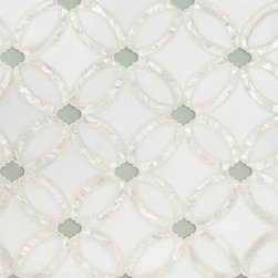 Artistic Tile Waterjet Collection - Allison - Stone & Glass waterjet mosaic tile. Thassos background. Rivershell lines. Wolfgang White Opera Glass dots