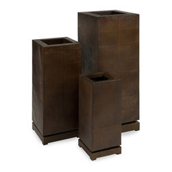 "IMAX - CKI Tall 5th Avenue Planters - Set of 3 - Large, simple shapes in unique, worked bronze metal make a real statement. With a removeable base, the tall 5th Avenue Planters have an interior shelfeethat can be adjusted to different heights. Set ofeethr . Item Dimensions: (23.25-32.25-41.25""h x 9-12-15""w x 9-12-15"")"