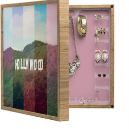 DENY Designs - Catherine Mcdonald Hollywood California BlingBox Petite - Handcrafted from 100% sustainable, eco-friendly flat grain Amber Bamboo, DENY Designs BlingBox Petite measures approximately 15 x 15 x 3 and has an exterior matte cover showcasing the artwork of your choice, with a coordinating matte color on the interior. Additionally, the BlingBox Petite includes interior built-in clear, acrylic hooks that hold over 120 pieces of jewelry! Doubling as both art and an organized hanging jewelry box, It's bound to be the most functional (and most talked about) piece of wall art in your home! Custom made in the USA for every order.