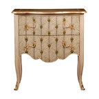 French Heritage - Marseillan Commode/Chest - Bedecked with peacock feathers, with a bit of gold for glamour, this snazzy little chest is perfectly sized for use in multiple locations.