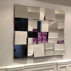 Vintage mirror. Modern minimalism. Cubist mirror, hand made - This mirror is custom sized to fill a space at the bottom of a staircase.