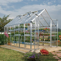 Palram - Palram Silver Snap and Grow Greenhouse (8 x 12) - Flaunt your green thumb with this Snap and Grow greenhouse by Palram. Silver in color and made of rust-resistant aluminum frames,this weatherproof greenhouse features a sturdy,galvanized steel base and durable polycarbonate panels.