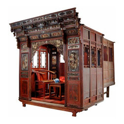 Rare Antique Chinese Carved Canopy Bed with Alcove - Rare Antique Chinese Carved Canopy Bed with Alcove