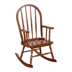 "Acme - Kloris Collection Tobacco Finish Wood Children's Size Rocker Chair - Kloris collection arch top spindle back tobacco finish wood Children's size rocking chair. Measures 21"" x 16"" x 28""H. Some assembly required."