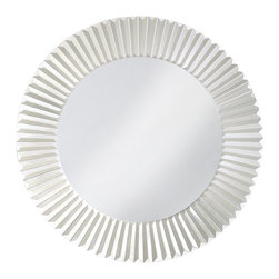 Howard Elliott - Torino Round Mirror - Our Torino mirror is a round piece with a glass frame fashioned to emulate the style of Venetian window treatments.