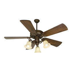 Craftmade - CXL 54 in. Fan in Aged Bronze w Premier Blade - Fan Specs:. Heavy-Duty, 3 Speed Reversible Motor. 2 in. and 6 in. Downrods (Included). Meets Energy Star Energy Efficiency Standards. Number of Fan Blades: 5. Blade Pitch: 14°. Motor Size: 188 x 15mm. High Speed Amps: 0.7. RPM (Hi-Med-Low): 210-120-78. Airflow (Cubic FT/MIN): 6503. Electricity Use: 76 Watts. Airflow Efficiency (Cubic FT/Min/Watt): 86. Blade Specs:. Blade Length: 54 in.. Suitable for Damp Locations. Light Specs:. Bulb Type: Medium Base CFL. Max Watt: 3-13W CFL (Included). Glass Finish: Antique Scavo. Height: 8.25 in.. Width: 14.50 in.