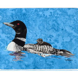 Caroline's Treasures - Loon Kitchen Or Bath Mat 20X30 - Kitchen / Bath Mat 20x30 - 20 inches by 30 inches. Permanently dyed and fade resistant. Great for the Kitchen, Bath, outside the hot tub or just in the door from the swimming pool.    Use a garden hose or power washer to chase the dirt off of the mat.  Do not scrub with a brush.  Use the Vacuum on floor setting.  Made in the USA.  Clean stain with a cleaner that does not produce suds.
