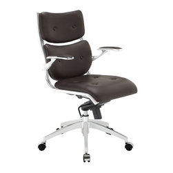 Modway - Modway EEI-1062 Push Midback Office Chair in Brown - The mid backed modern style of Push creates a focused synergy that turns all eyes on you. Every task that comes your way, will be handled with confidence, from the leatherette cushioned comfort of office luxury. Padded armrests, and the sleek sheen of the five dual-caster base, complete Push's stunning design.