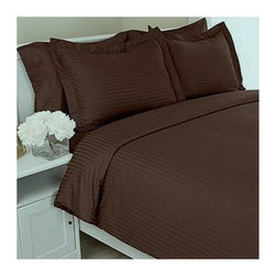 SCALA - 300TC 100% Egyptian Cotton Stripe Chocolate Full XL Size Fitted Sheet - Redefine your everyday elegance with these luxuriously super Fitted Sheet. This is 100% Egyptian Cotton Superior quality Sheet Set that are truly worthy of a classy and elegant look.