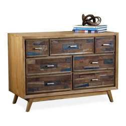 Interlude Home - Interlude Home Anders 7 Drawer Chest - This Interlude Home 7 Drawer Chest is crafted from Wood  and Metal and finished in Recycled Boat Wood and Natural Rustic and Antique Silver.  Overall size is:  43 in. W  x  18 in. D x 30 in. H.