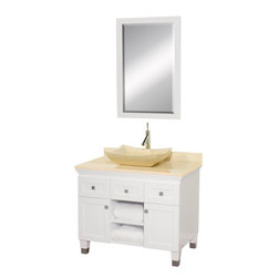 """Wyndham Collection - Premiere 36"""" White SGL Vanity, Ivory Marble Top, Avalon Sink - A bridge between traditional and modern design, and part of the Wyndham Collection Designer Series by Christopher Grubb, the Premiere Single Vanity is at home in almost every bathroom decor, blending the simple lines of modern design like vessel sinks and brushed chrome hardware with transitional elements like shaker doors, resulting in a timeless piece of bathroom furniture."""